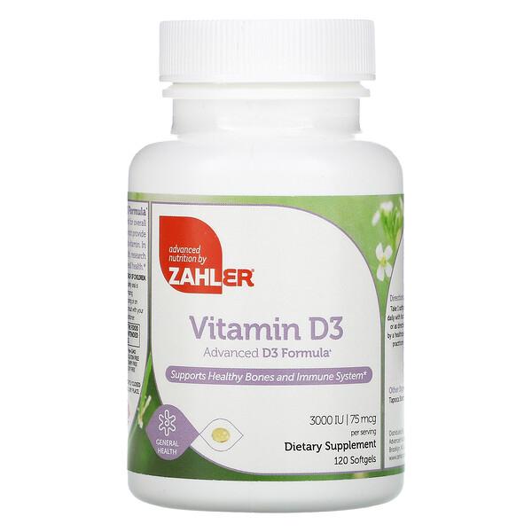 Vitamin D3, Advanced D3 Formula, 75 mcg (3,000 IU), 120 Softgels