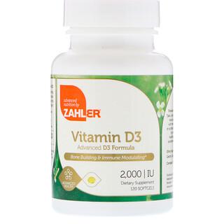 Zahler, Vitamin D3, Advanced D3 Formula, 2,000 IU, 120 Softgels