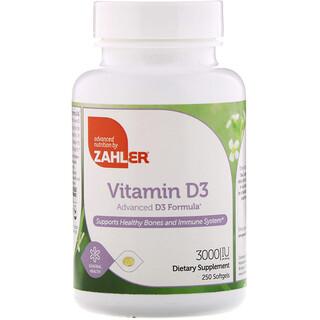 Zahler, VitaminD3, fortschrittliche D3Formel, 3.000IU, 250Weichkapseln