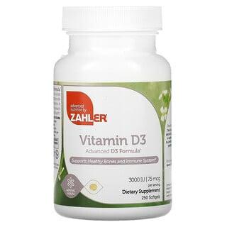 Zahler, Vitamin D3, Advanced D3 Formula, 75 mcg (3,000 IU) , 250 Softgels