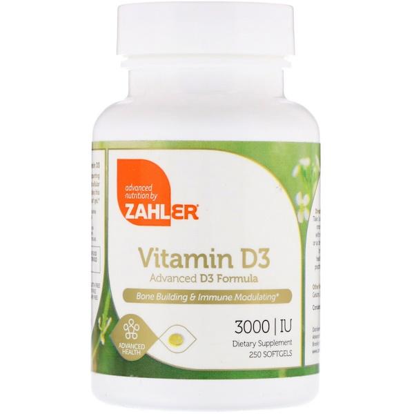 Zahler, ビタミンD3、高度なビタミンD3フォーミュラ、3000 IU、ソフトジェル250粒