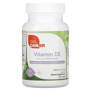 Zahler, Vitamin D3, Advanced D3 Formula, 50 mcg (2,000 IU), 250 Softgels