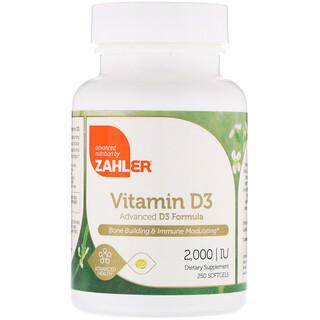 Zahler, Vitamina D3, Fórmula Avançada de D3, 2.000 UI, 250 Cápsulas Gelatinosas