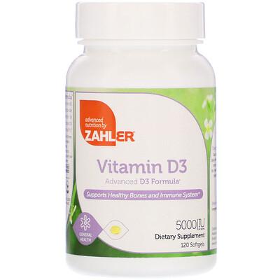 Купить Zahler Витамин D-3, улучшенная формула D3, 5000 МЕ, 120 мягких таблеток