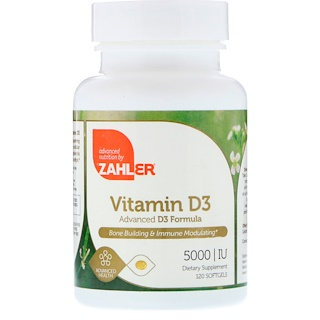 Zahler, Vitamina D3, Fórmula D3 Avançada, 5.000 IU, 120 Cápsulas Gelatinosas