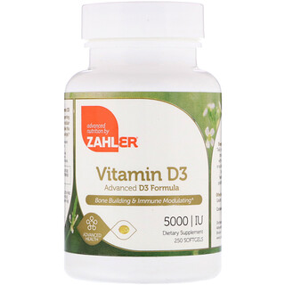Zahler, Vitamin D3, Advanced D3 Formula, 5000 IU, 250 Softgels
