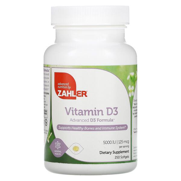 Vitamin D3, Advanced D3 Formula, 125 mcg (5,000 IU), 250 Softgels