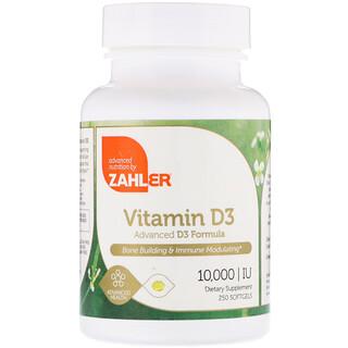 Zahler, Vitamina D3, Fórmula Avançada de D3, 10.000 UI, 250 Cápsulas Gelatinosas