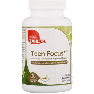 Zahler, Teen Focus, Fórmula Avançada para Melhor Concentração, 90 Cápsulas