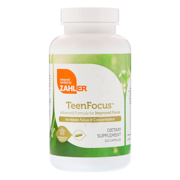 Zahler, Teen Focus,改善集中力的先進配方,120粒膠囊
