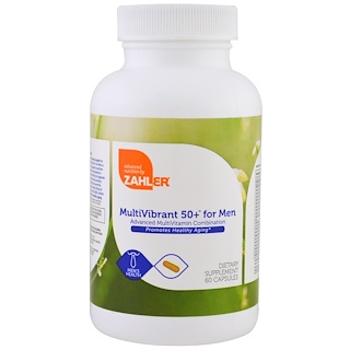 Zahler, Multivibrant 50+ для мужчин, передовое сочетание витаминов, 60 капсул