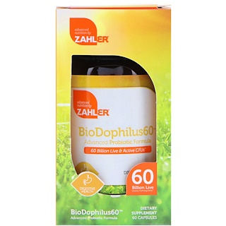 Zahler, Biodophilus60, Advanced Probiotic Formula, 60 Billion CFU, 60 Capsules