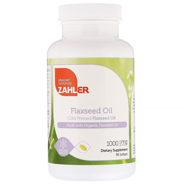 Zahler, Органическое масло льняного семени, 1000 мг, 90 мягких желатиновых капсул
