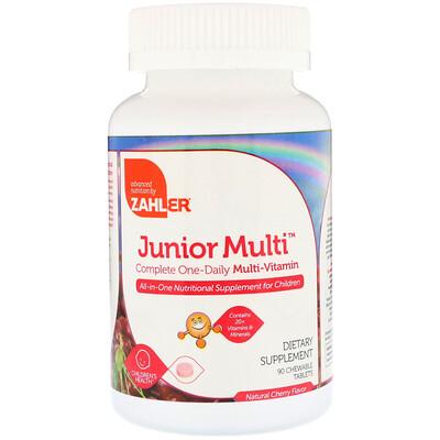 Купить Zahler Junior Multi, комплексный мультивитамин для приема по 1 таблетке в день, натуральный вишневый вкус, 90 жевательных таблеток