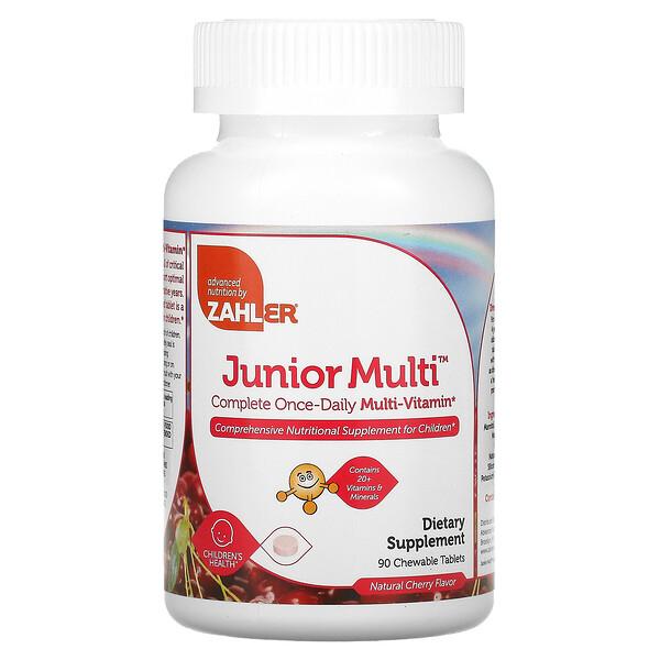 فيتامينات متعددة للصغار، متعدد-فيتامين كامل مرة-يومياً، نكهة الكرز الطبيعية، 90 قرص قابل للمضع