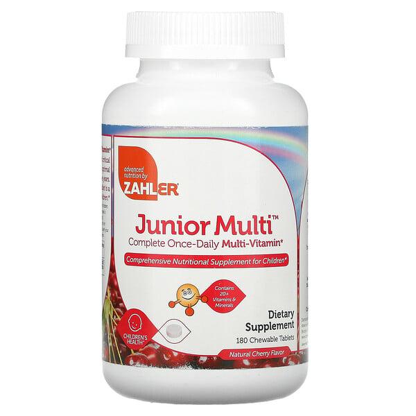 Zahler, Junior Multi, Multivitamínico Completo Uno al Día, Sabor Natural Cereza, 180 Tabletas masticables