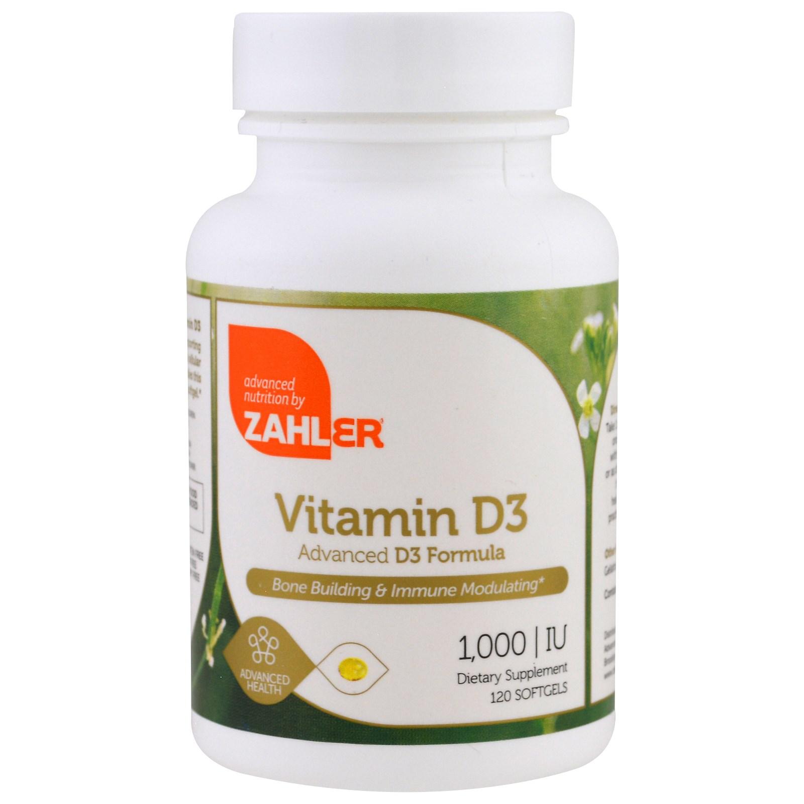 Zahler, Витамин D3, Продвинутая формула витамина D3, 1000 МЕ, 120 мягких капсул