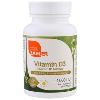 Zahler, Vitamina D3, fórmula D3 avançada, 1.000 UI, 120 cápsulas de gelatina mole