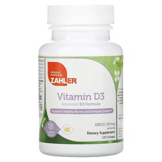 Zahler, Vitamin D3, Advanced D3 Formula, 25 mcg (1,000 IU), 120 Softgels