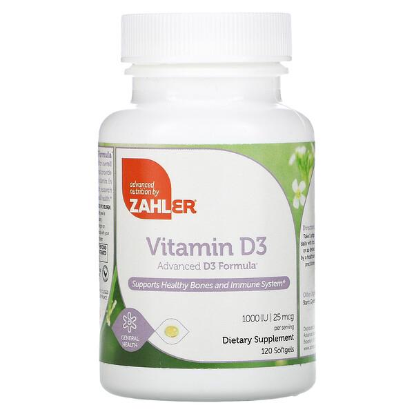 Vitamin D3, Advanced D3 Formula, 25 mcg (1,000 IU), 120 Softgels