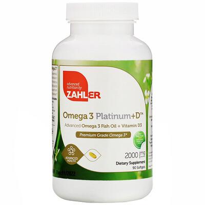 Купить Zahler Omega 3 Platinum+D, Advanced Omega 3 with Vitamin D3, 2, 000 mg, 90 Softgels