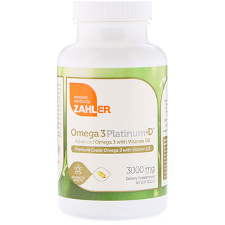 Zahler, オメガ3 プラチナム + D、アドバンスト オメガ3、ビタミンD3配合、3000 mg ソフトジェル90個