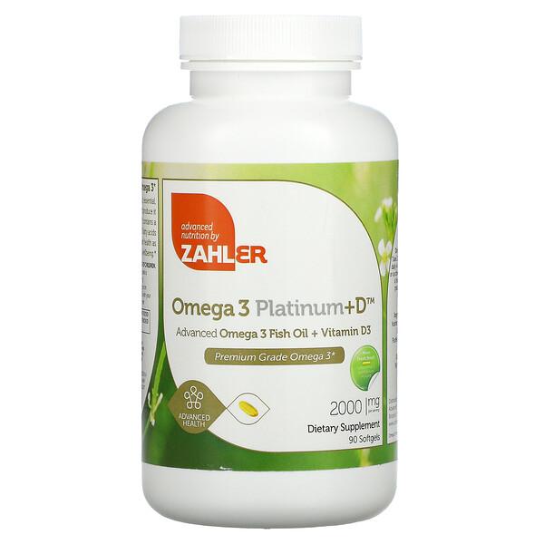 Omega 3 Platinum+D, усовершенствованный рыбий жир с омега-3 и витаминомD3, 1000мг, 90капсул