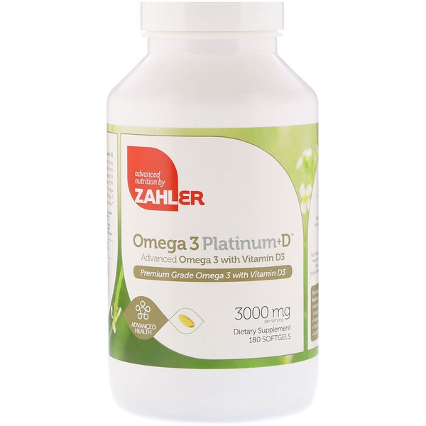 Zahler, Omega 3 Platinum+D, Advanced Omega 3 with Vitamin D3, 3000 mg, 180 Softgels
