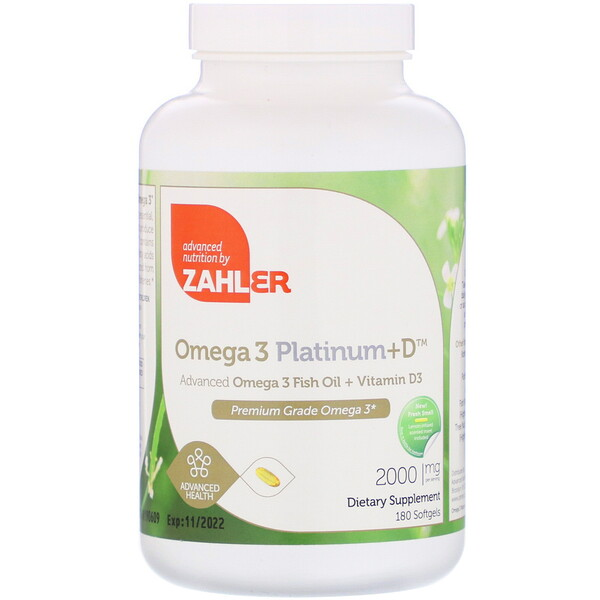 Zahler, Omega 3 Platinum+D, Advanced Omega 3 Fish Oil + Vitamin D3, 2,000 mg, 180 Softgels (Discontinued Item)