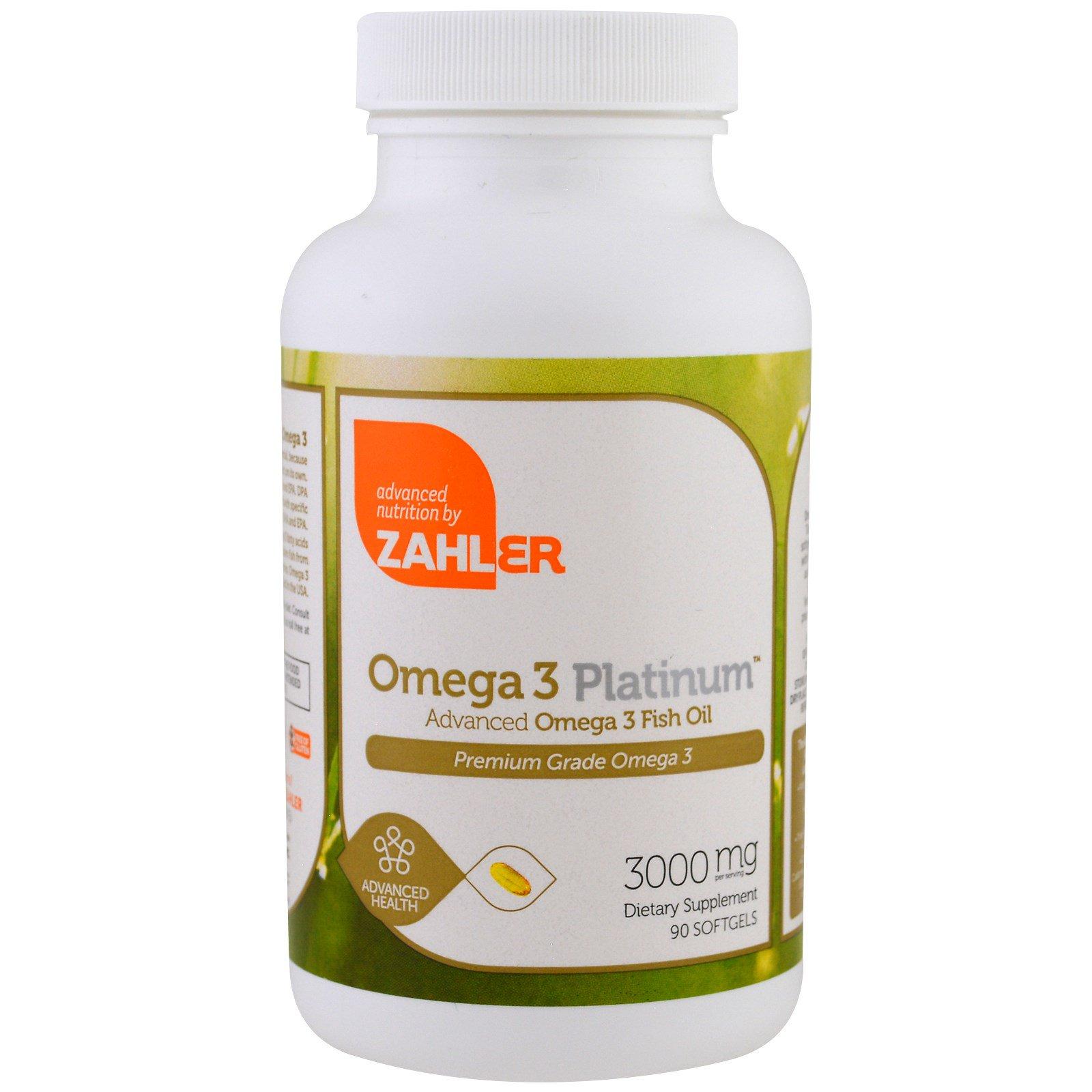 Zahler, Omega 3 Platinum, Продвинутый рыбий жир с Омега-3, 3000 мг, 90 мягких капсул