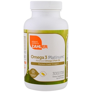 Zahler, Omega 3 Platinum, Advanced Omega 3 Fish Oil, 3000 mg, 90 Softgels
