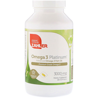 Zahler, Omega 3 Platinum, Advanced Omega 3 Fish Oil, 3000 mg, 180 Softgels