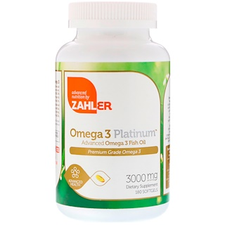 Zahler, Omega 3 Platinum, Advanced Omega 3 Fish Oil, 3000 mg, 180 Softgels
