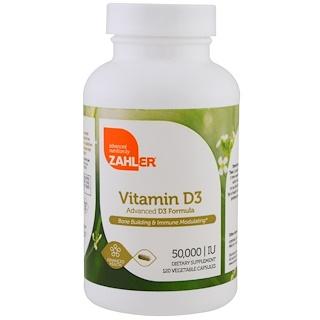 Zahler, Vitamina D3, 50.000 UI, 120 cápsulas vegetais
