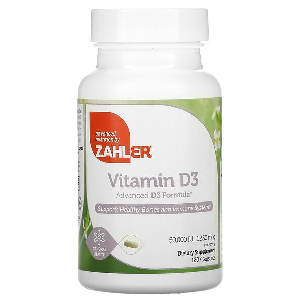 Vitamina D3, 50.000 UI, 120 Cápsulas