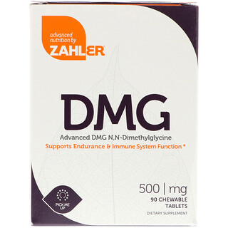 Zahler, DMG, Advanced DMG N, N-Dimethylglycine, 500 mg, 90 Chewable Tablets