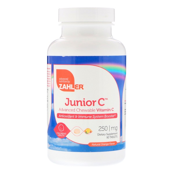 Zahler, Junior C , Advanced Chewable Vitamin C, Natural Orange Flavor, 250 mg, 90 Tablets