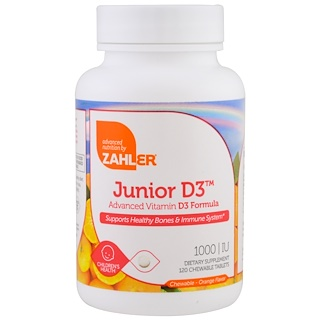 Zahler, Junior D3, Advanced Vitamin D3 Formula, Orange, 1,000 IU, 120 Chewable Tablets