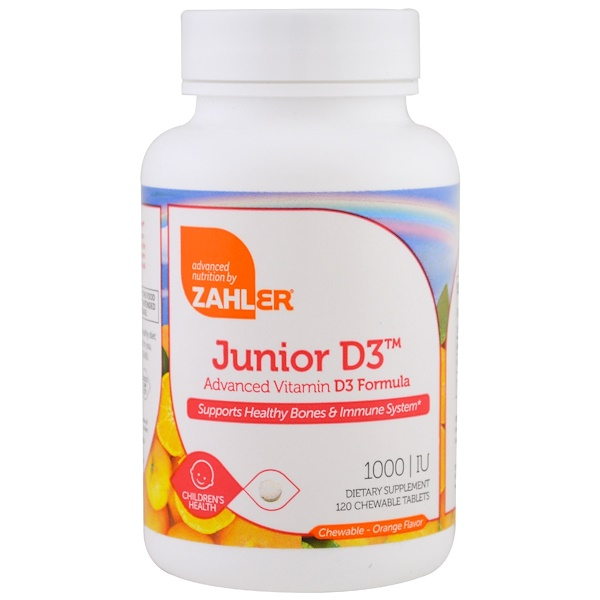 Zahler, Junior D3, Advanced Vitamin D3 Formula, Orange, 1,000 IU, 120 Chewable Tablets (Discontinued Item)