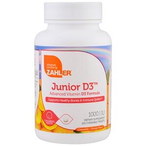 Залер, Junior D3, Advanced Vitamin D3 Formula, Orange, 1,000 IU, 120 Chewable Tablets отзывы покупателей