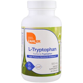 Zahler, L-Tryptophan, Purified L-Tryptophan, 500 mg, 60 Capsules