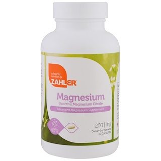 Zahler, Magnesium, Advanced Magnesium Supplement, 200 mg, 60 Capsules