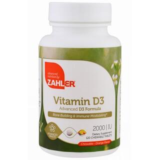 Zahler, Vitamina D3, Sabor Laranja, 2000 UI, 120 tabletes mastigáveis