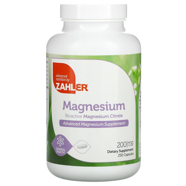 Zahler, Magnesium, 200 mg, 250 Capsules