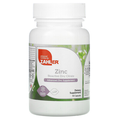 Купить Zahler Zinc, Bioactive Zinc Citrate, 90 Capsules
