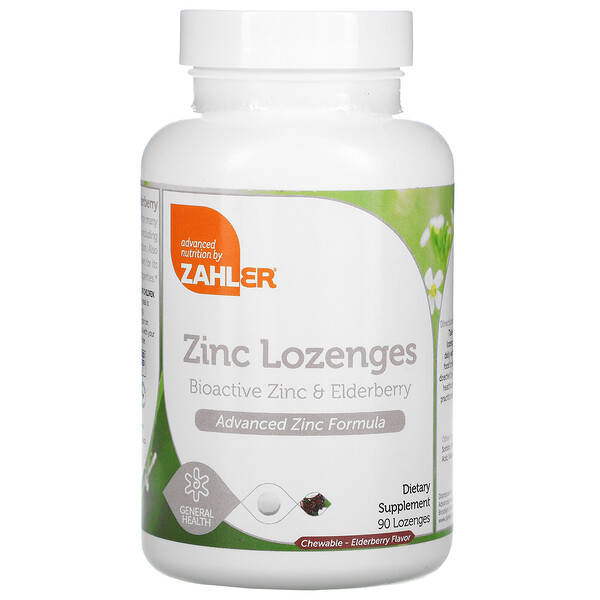 Zahler, Zinc Lozenges, Bioactive Zinc & Elderberry, Elderberry, 90 Chewable Lozenges