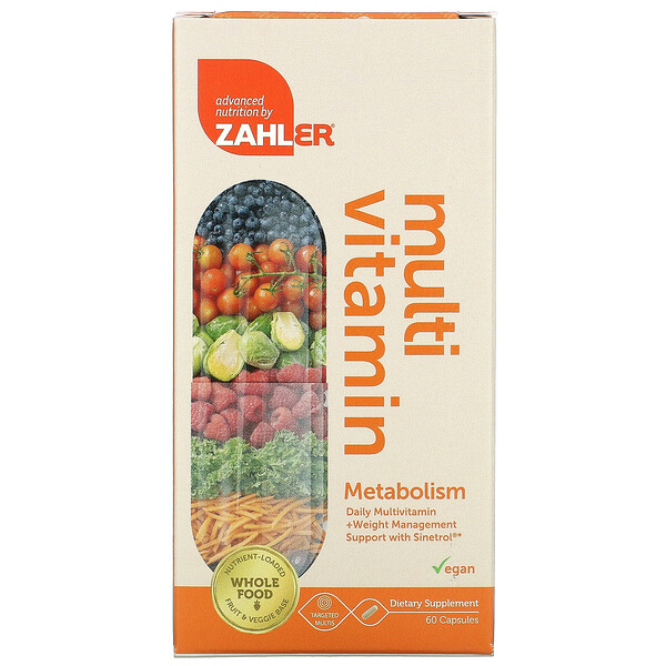 Zahler, Metabolism, Daily Multivitamin + Weight Management Support with Sinetrol, 60 Capsules