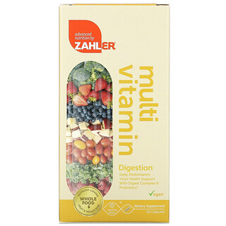 Zahler, Digestion, Daily Multivitamin + Gut Health Support With Digest Complex & Probiotics, 60 Capsules