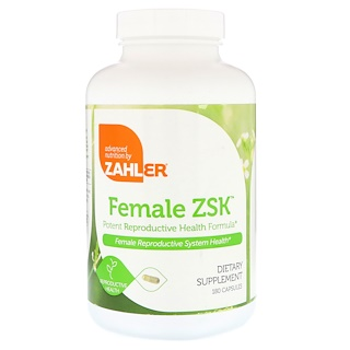 Zahler, Female ZSK, Potent Reproductive Health Formula, 180 Capsules