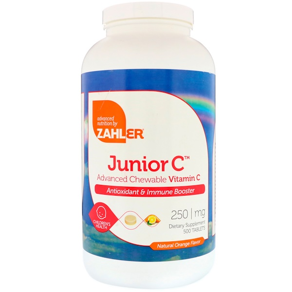 Zahler, Junior C, vitamina C avanzada masticable, sabor naranaja natural, 250 mg, 500 tabletas